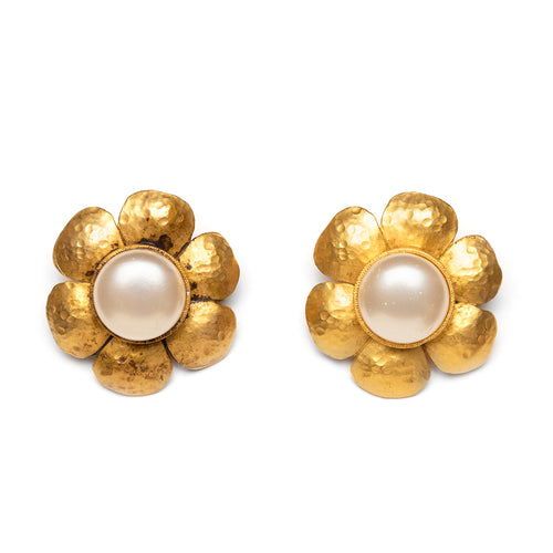 1993 Chanel Brushed and Hammered Gold Flower Earrings