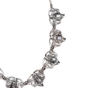 Silver Floral Repeating Pattern Necklace