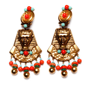 Lawrence Vrba Egyptian Revival Dangly Earrings