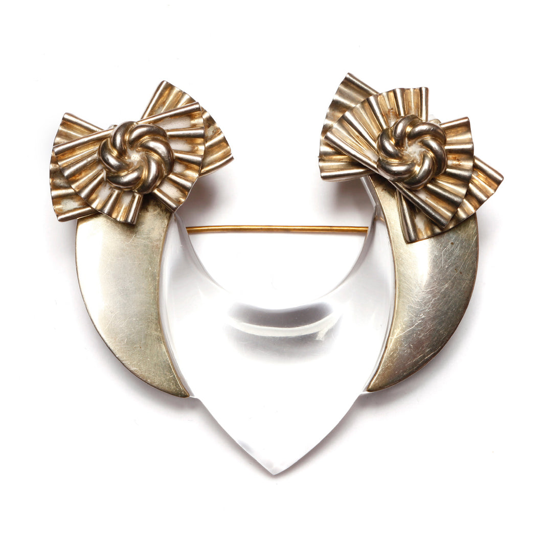 1970s Lucite and Aluminum Bow Brooch