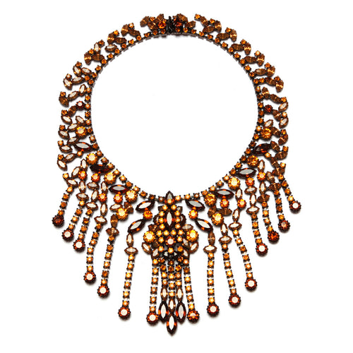 1950s Amber Dangly Fringe Necklace