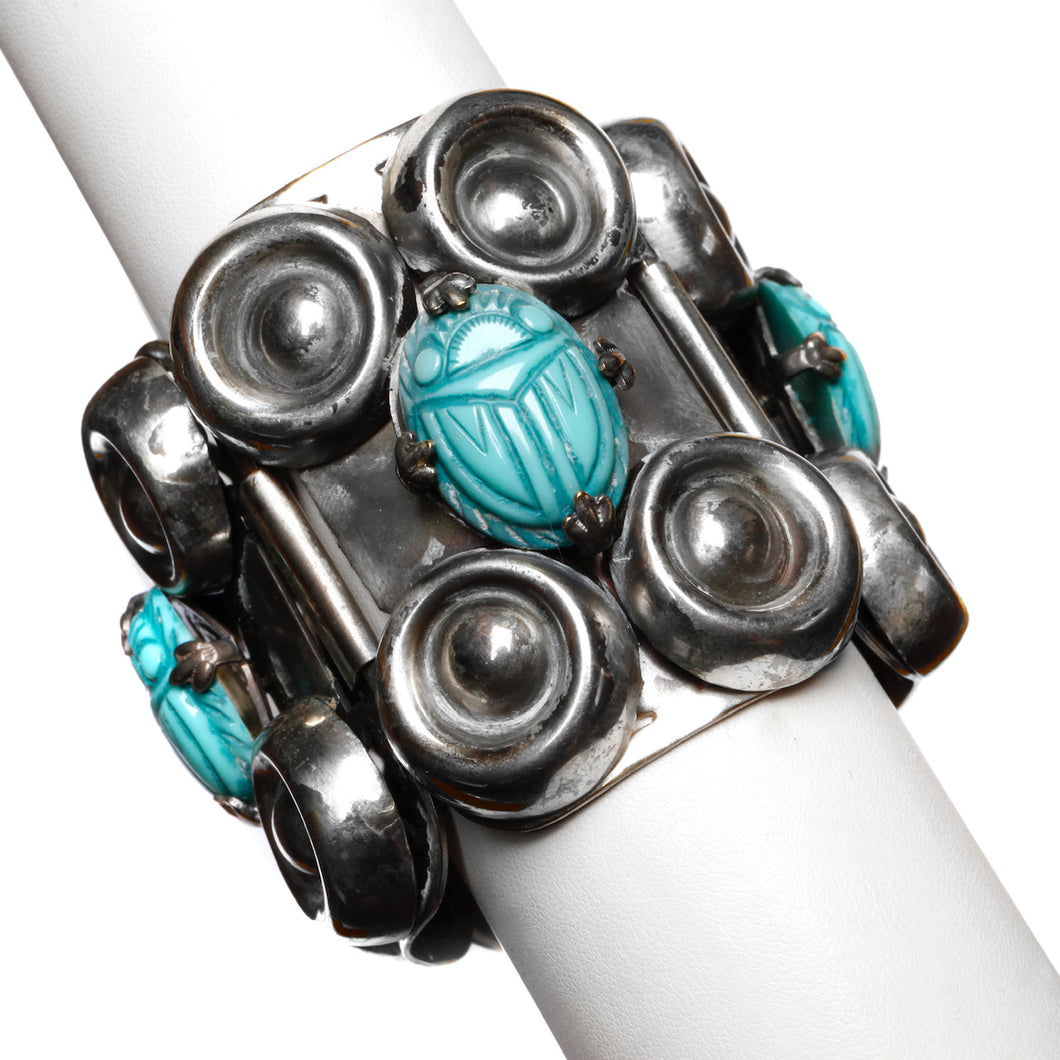 1950s Turquoise Scarab Silver Cuff