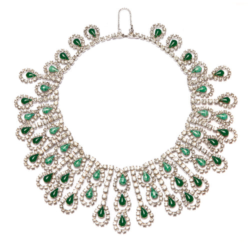 1950s Emerald Drop Fringe Collar Necklace