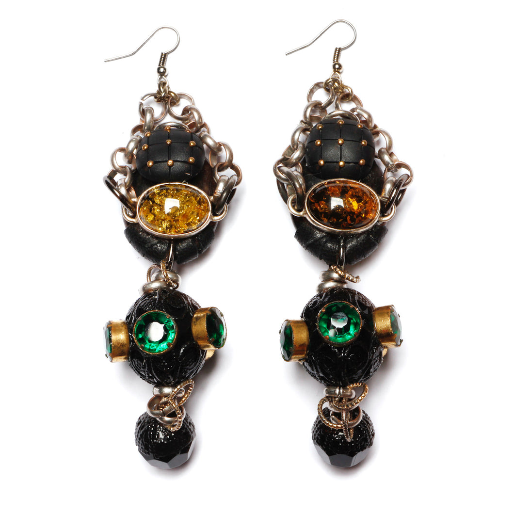 Artisanal Black Leather and Rhinestone Earrings