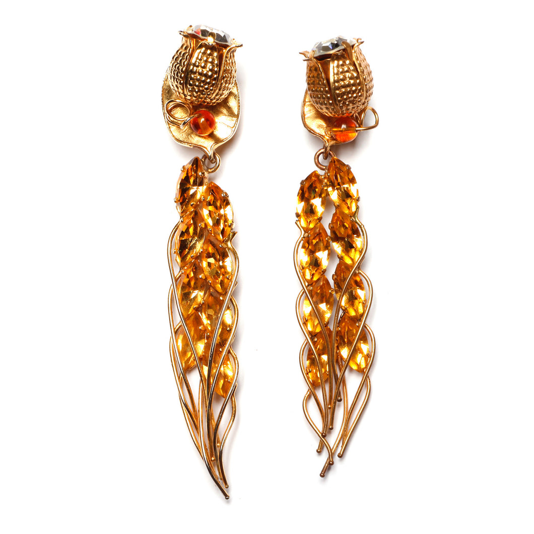 1950s Daniel Swarovski Flower Bud Earrings