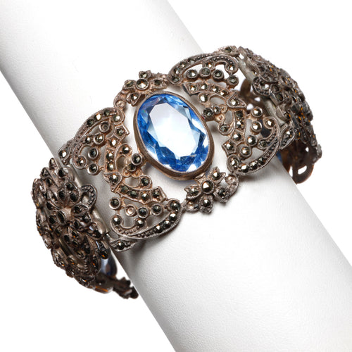 1930s Blue Stone and Marcasite Bracelet