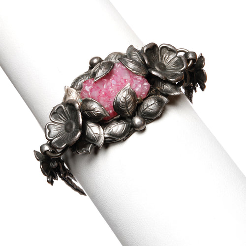 1930s Silver Floral Bracelet with Pink Stone