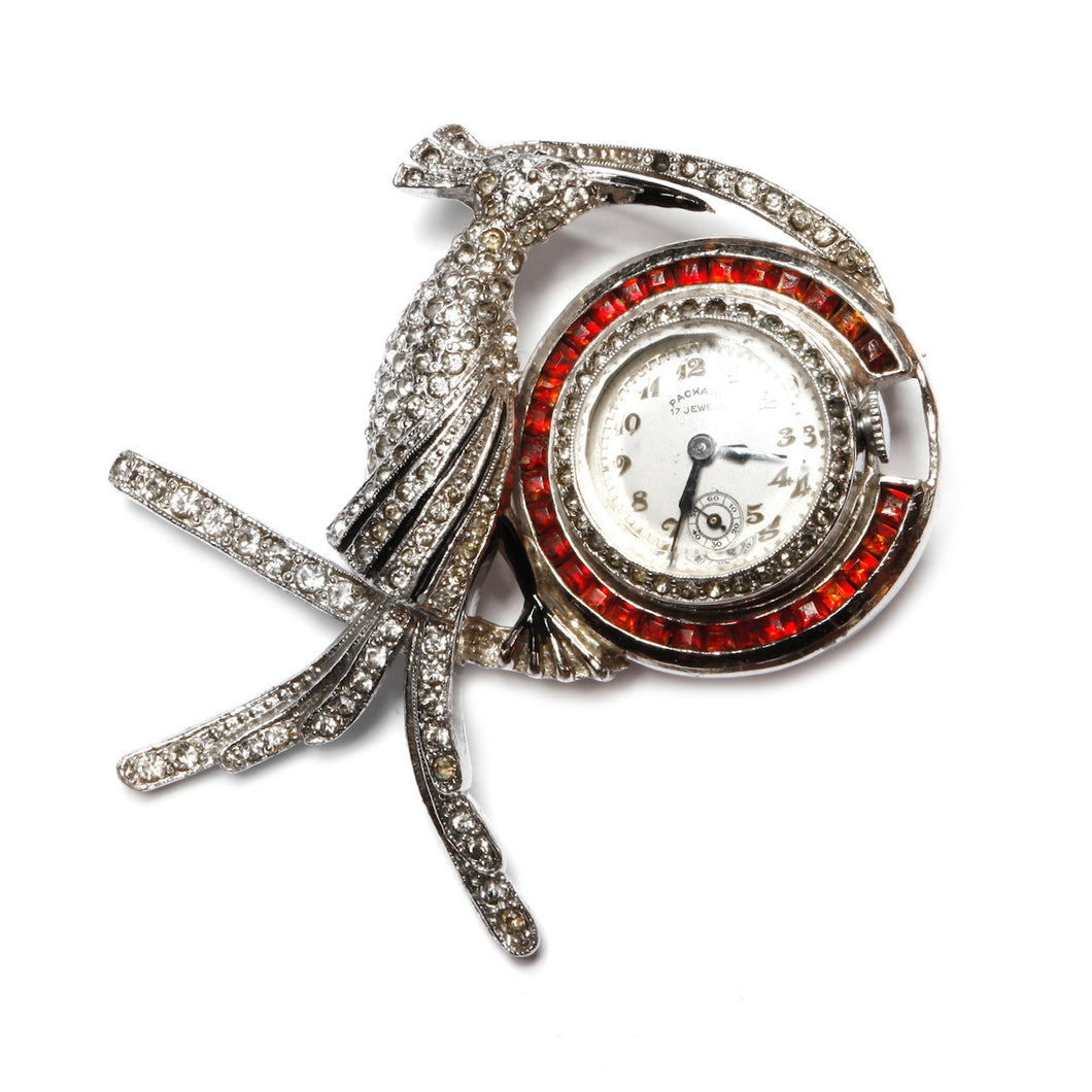 1940s Jewel Encrusted Bird and Clock Brooch