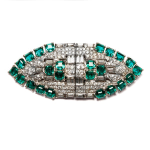 1950s Emerald and Diamanté Duette Brooch