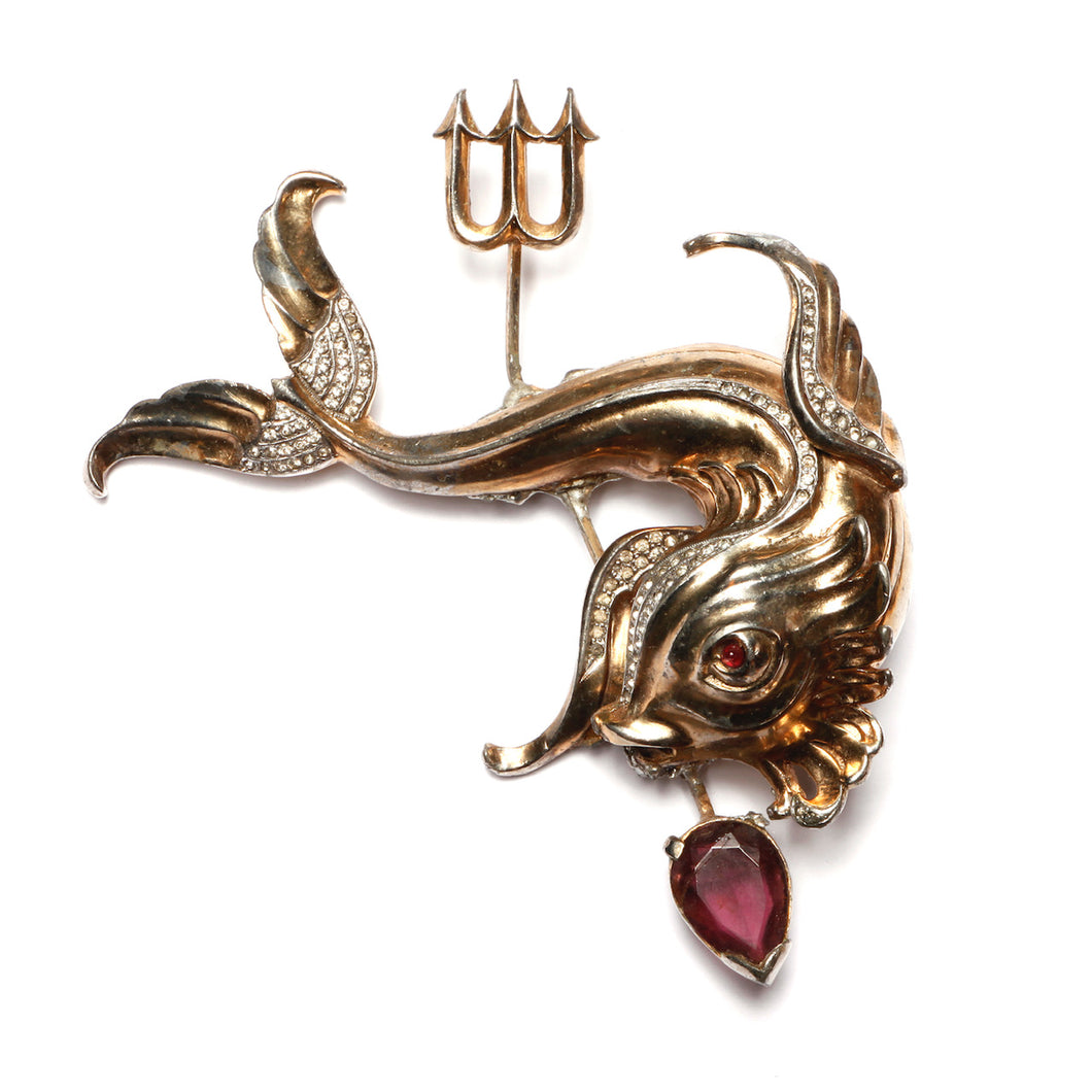 1940s Fish and Trident Brooch