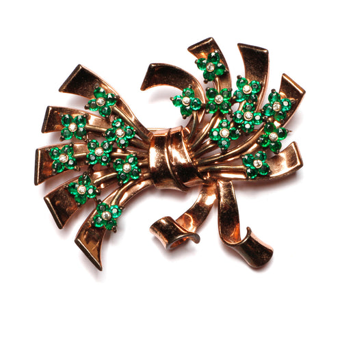 Pennino Bow with Green Flowers Brooch