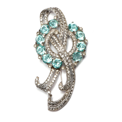 Blue and Crystal Brooch