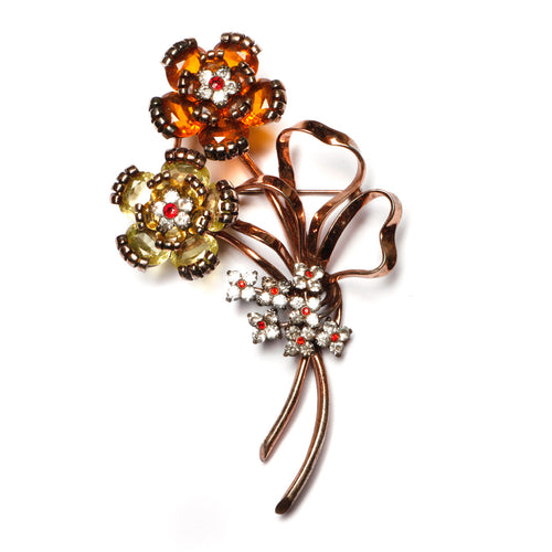 Pennino Amber and Yellow Flower Bouquet Brooch