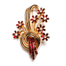 Load image into Gallery viewer, Coro Red and Gold Flower Bouquet Brooch