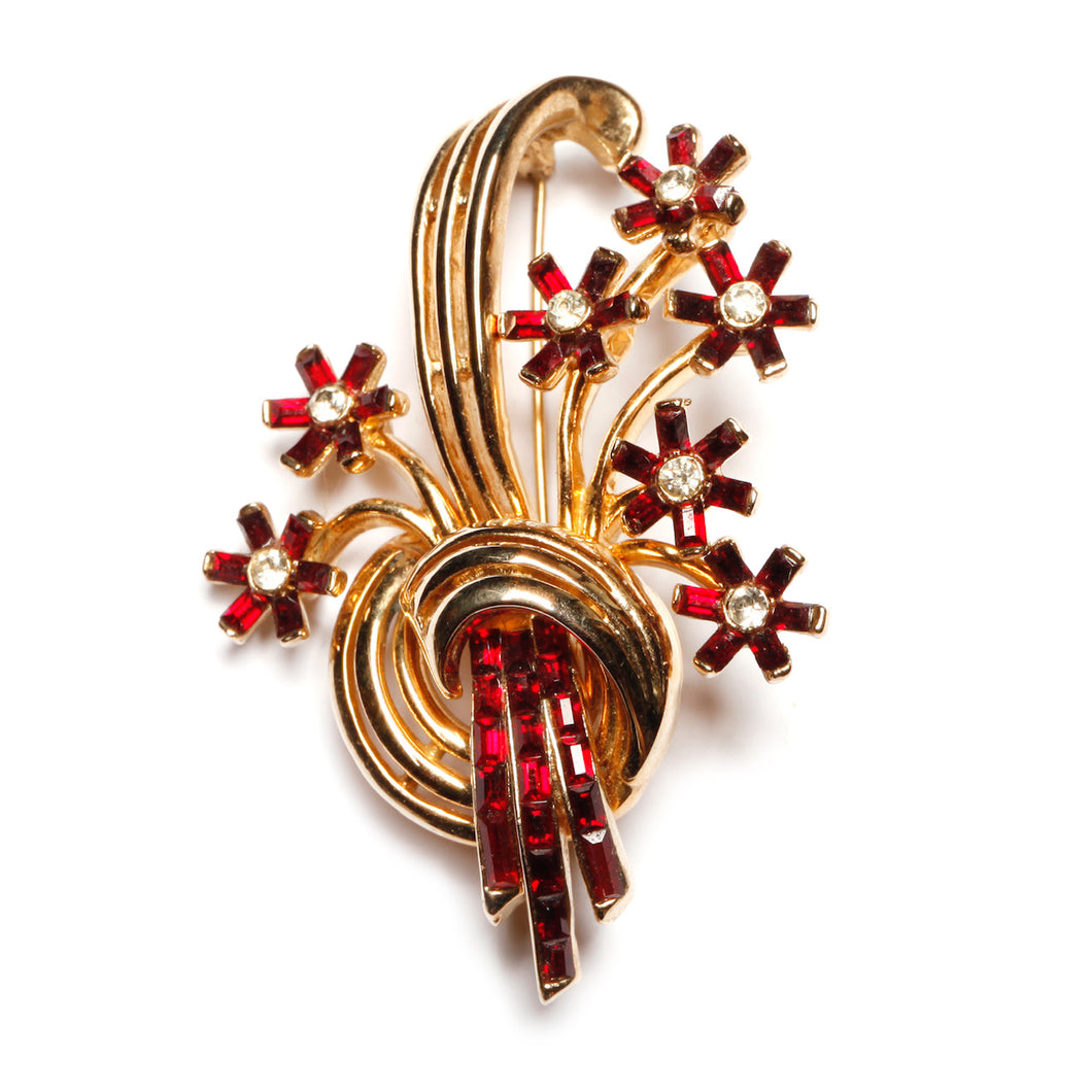 Coro Red and Gold Flower Bouquet Brooch