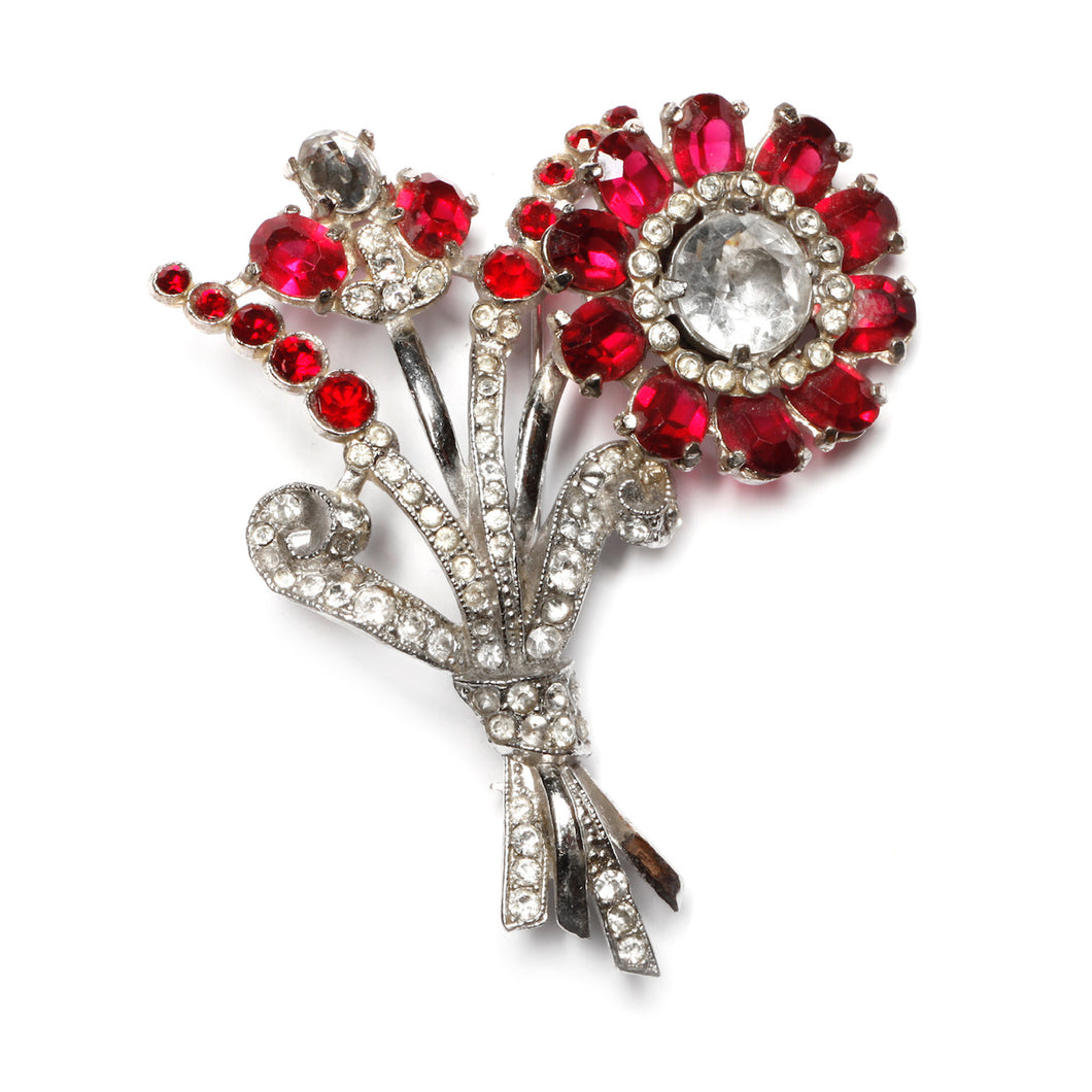 Coro Red and Silver Flower Bouquet Brooch