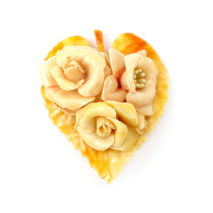 Floral Celluloid Heart Brooch