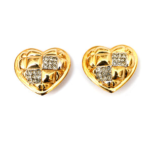 Alexis Kirk Gold and Diamante Heart Earrings