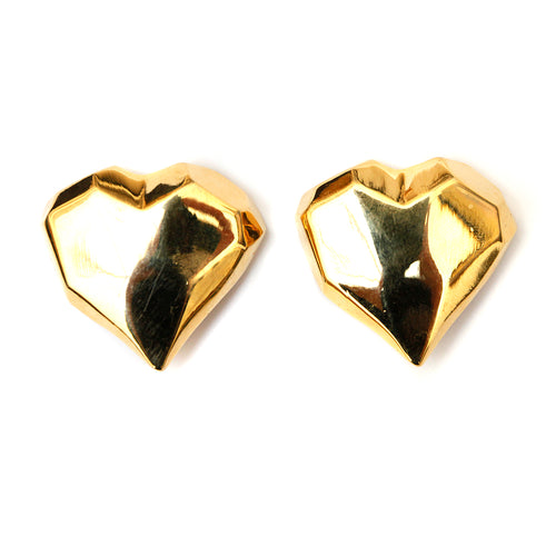 Gold Sculptural Heart Earrings