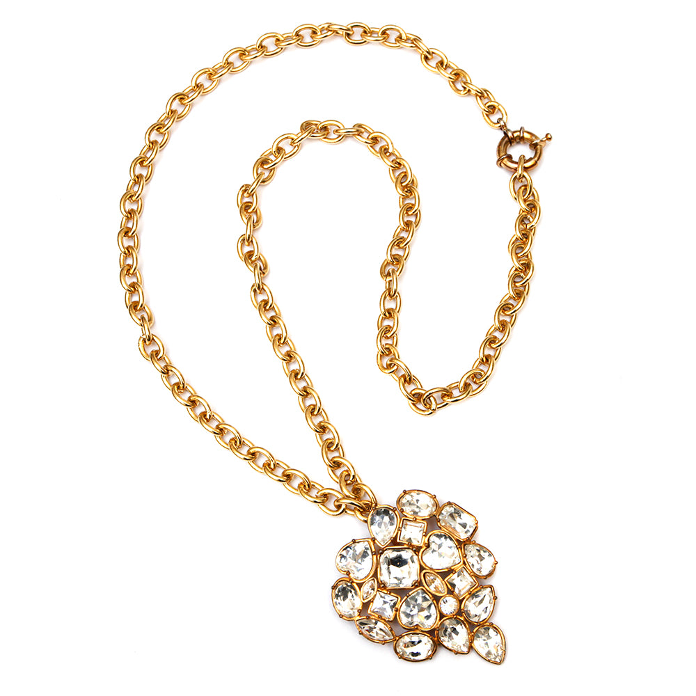 YSL Rhinestone Heart Pendant Necklace or Brooch