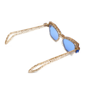 1950s Confetti and Blue Rhinestone Frame Sunglasses