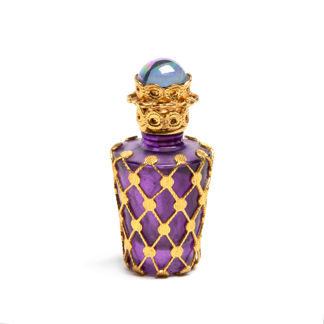 Gold Overlay and Purple Glass Perfume Bottle