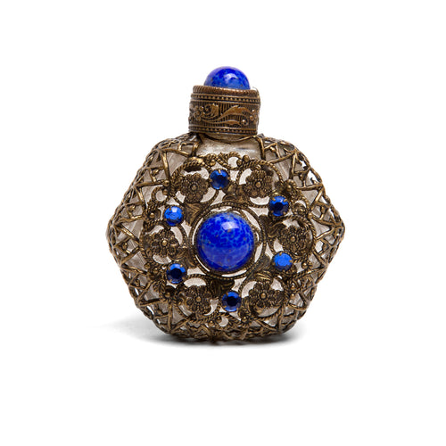 Hexagonal Filigree and Glass Perfume Bottle