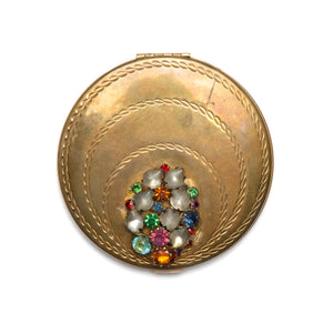 1950s Volupté Gold Jewel Encrusted Compact
