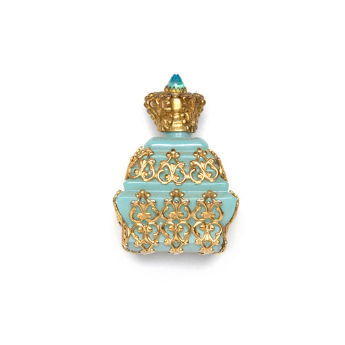 Tiered Blue Opaque Glass Perfume Bottle