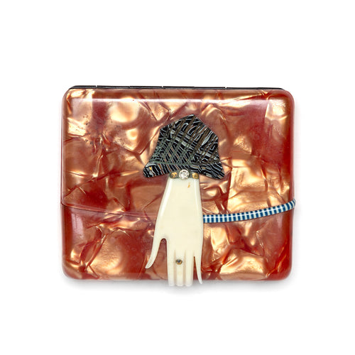 1950s Marbleized Card Case with Hand