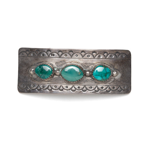 Mexican Sterling Hair Clip with Green Stones