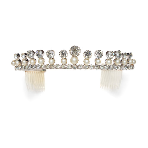 1960s Crystal and Pearl Tiara