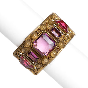 1930s Czech Filigree with Pink and Purple Stones Bracelet
