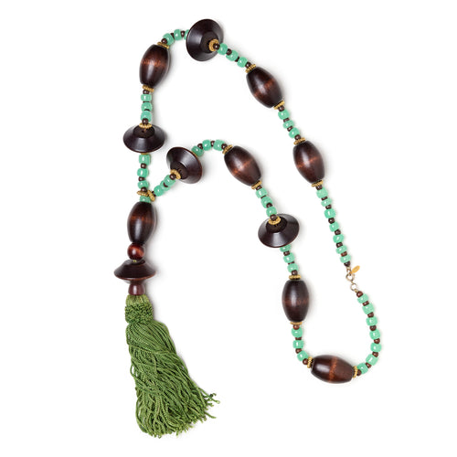 1970s Cadoro Wood and Green Beaded Necklace