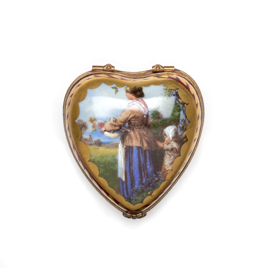 Limoges Heart-Shaped Porcelain Box