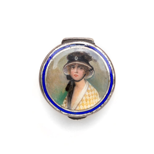 Sterling Painted Figural Pill Box