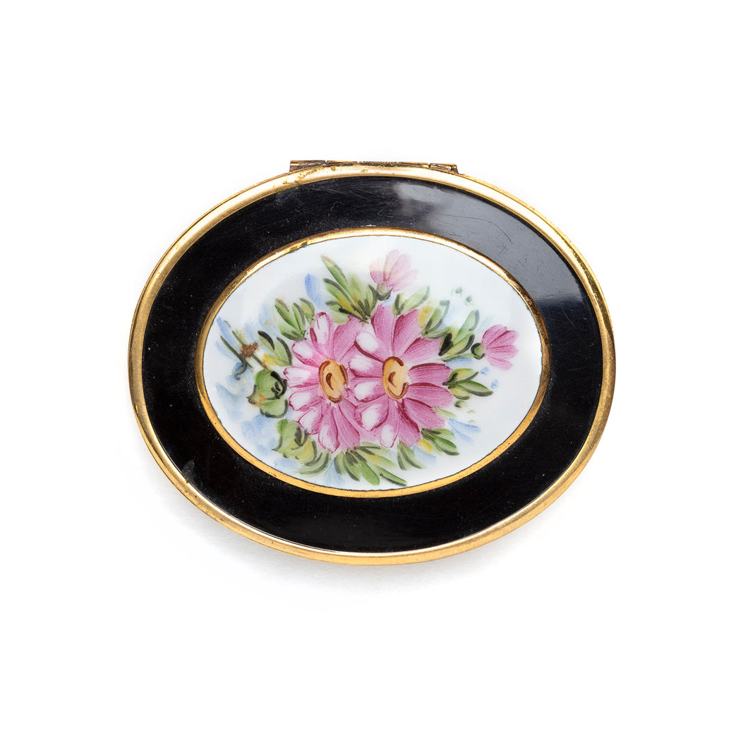 1950s Bliss Floral and Black Oval Compact