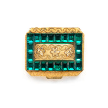 Load image into Gallery viewer, 1950s Green Jewelled Gold Pill Box