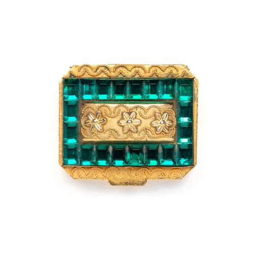 1950s Green Jewelled Gold Pill Box