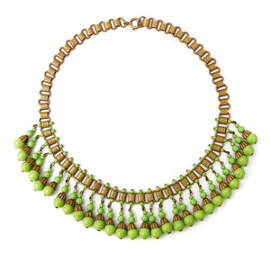 Gold-Toned Necklace with Green Dangly Beads