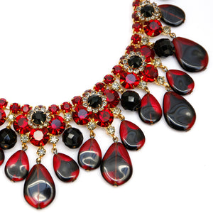 Juliana Red Floral Necklace