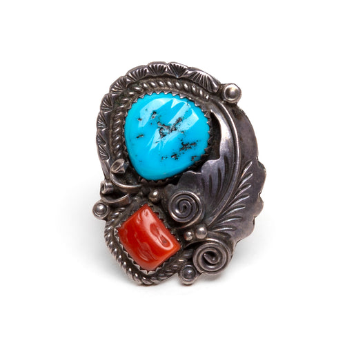 Mexican Sterling Ring with Feather Design