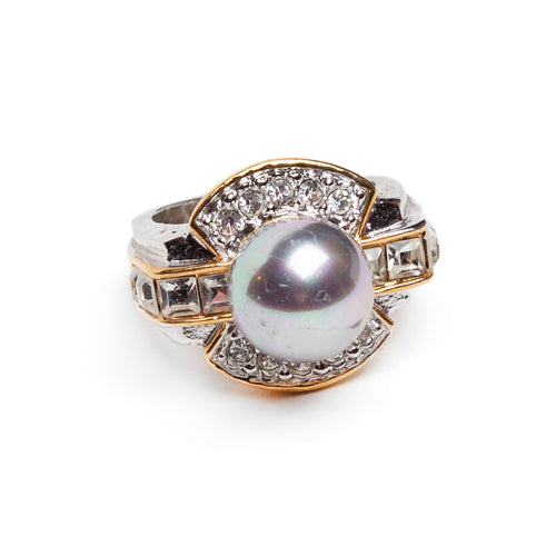 Metallic Pearl and Diamanté Ring