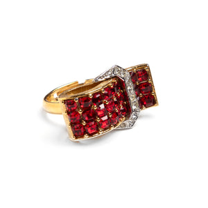 Boucher Red and Silver Buckle Ring