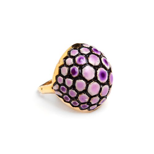 1960s Vendôme Purple Turtle Shell Ring