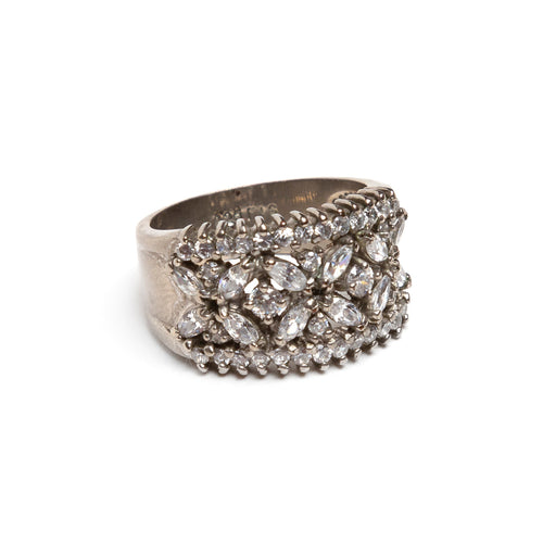 1950s Sterling Ring with Diamanté Band