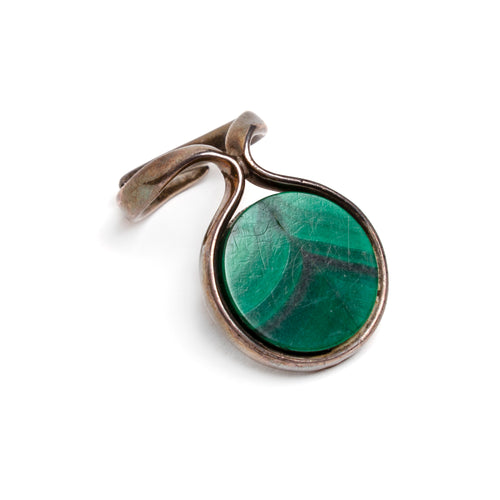 Sterling and Malachite Artisanal Ring