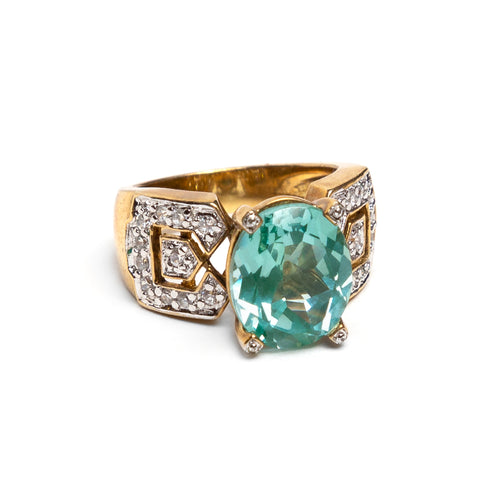 Oval Aquamarine Stone Ring