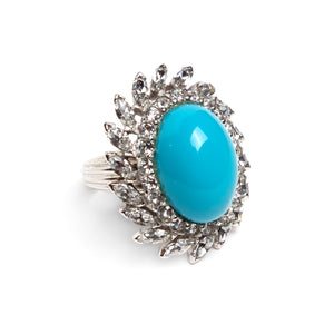 1950s Bright Blue Cabochon Ring