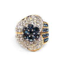 Load image into Gallery viewer, 1980s Heart and Flower Rhinestone Ring